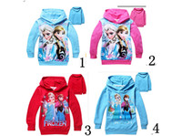 Wholesale New colours Frozen Girl Chilren Sweater Elsa Anna Princess Hoodies long sleeve kids clothing outerwear fleeces Hoody clothes child gift