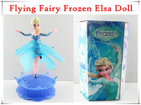 Wholesale 2014 Flying Fairy Frozen Elsa Doll Infrared Induction Control Toy Princess Elsa Anna Dolls For Girls With Music Light