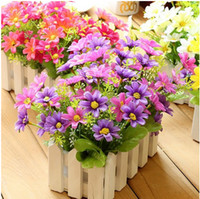 Wholesale Artificial potted planter bonsai silk flower with wooden fence set