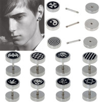fake gauges - 40pcs Stainless Steel Fake Cheater Ear Plugs Gauge Illusion Body Jewelry Pierceing BB179