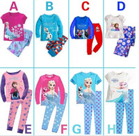 Wholesale 2014 best gifts Baby Girls Frozen Pajamas Kids Anna Elsa Olaf Princess Pajamas Children Autumn Clothes New Cotton Piece Set