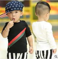 Wholesale Autumn Kids Children Baby Boy s Clothing Long Sleeve Basic Simple T Shirt Cotton Black White cm Boys Clothes K0388