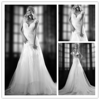 Wholesale Custom Made New V Neck Backless Wedding Dresses Tulle Lace Applique Embroidery Wedding Dress Cap sleeve Mermaid Bridal Gowns All Size