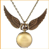 Wholesale Harry Potter gold golden snitch pocket watches necklace with chain antique pocket fob watches