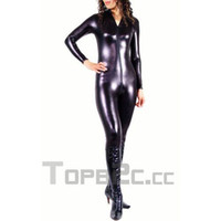 catsuits - Black Shiny Metallic Unisex Catsuits