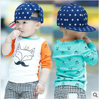 Wholesale 2014 Autumn Kids Children Baby Boy s Clothing Fox King Print Logo Long Sleeve T Shirt Cotton Orange Blue cm Boys Clothes K0389