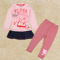 Wholesale FG5120 kids clothing sets autumn winter peppa pig outfits baby girls suits long sleeve t shirt long pants girls sets leggings striped pants