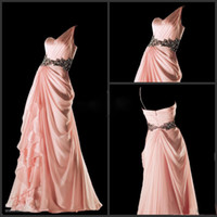 2014 Sexy One- Shoulder Prom Dresses Beads Chiffon Floor- Leng...