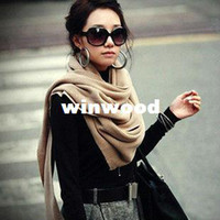 Cheap 2014 New Fashion Knitted Wool Yarn Soft Solid Color Super Warm Cashmere Scarf For Women Winter Pashmina Long Shawl 80616