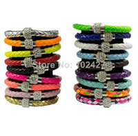 Wholesale TOP Quality PU Leather Bracelets For Women Handmade Shamballa Bracelet With Magnetic Clasp Colors