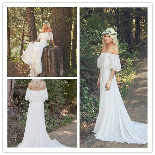 Hippie Boho Wedding Dress With Train Bohemian Wedding Dress s