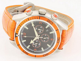 china date Orange original belt Cheap New Fashion automatic Wristwatches men watch Luxury Stainless steel Men's Watches
