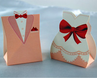 boxes for wedding dress - 100pcs Happy Wedding Tuxedo Dress Wedding Candy Boxes Wedding Favor Gift Boxes for Wedding Supplies