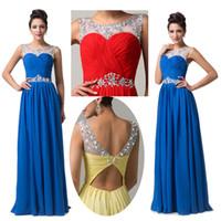GK Cheap In Stock Long Chiffon Bridesmaid Dresses Illusion C...