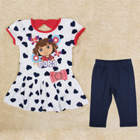 Wholesale girls sets new arrival nova baby girls suits summer kids cartoon clothing korean casual style clothing set dress shorts HG5153