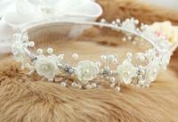 Cheap Free Shipping! Shining Wedding Bridal Accessories Crystal Veil Tiara Crown Headband with Pearls