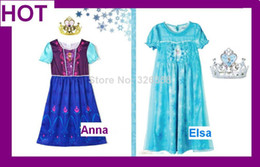 Wholesale Long Frozen Party Dress with Crown Girls Snow Queen Elsa Anna Age Vest dress Shimmer Mesh Tutu Dress kids princess Clothing