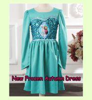 1PC New Frozen Autumn Long Sleeve Princess Elsa Anna Dress C...