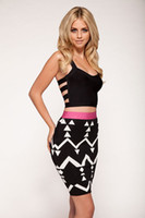 Wholesale Good Elastic Women Bandage Dress Geometric Print Skirt Fashion Over Hip Clubwear Suitable Skirts