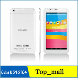 Wholesale 7inch Quad core tablet phone call Cube U51GTC4 MTK8382 dual cameras dual sim card G WCDMA G GSM Android GB GB