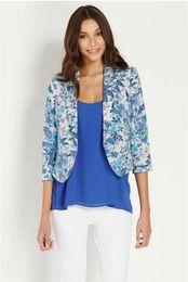 Wholesale Women Blazer Floral Printing Notched Neck Three Quarter Sleeve No Button Blazer Autumn New