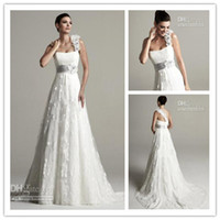 HOT SELL!One- Shoulder A- Line Wedding Dresses Handmade Flower...