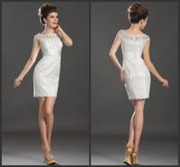 Cheap Cheap Fashion Prom Dresses Sleeveless Bateau Peplum Elegant Lace Back Zipper Short Sheath Cocktail Gowns 2014 Best Selling Popular XR