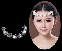 Cheap LM Floral Teardrop Rhinestone Crystal Bridal Frontlet Wedding Hair Accessories Hair Jewelry Free Shipping