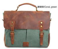 Wholesale High Quality Retro Brief Case Single Shoulder Bag Cowhide Canvas Message Bag Many Colors