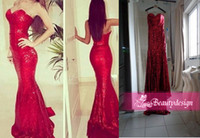 sequin fabric - Real Images cheap sequins fabric mermaid red prom dresses sexy sweetheart backless sweep train formal evening gowns D