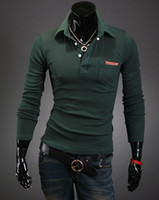 Cheap 2014 Wholesale New men personality lapel pockets leather label design long sleeve POLO shirts Free Shipping