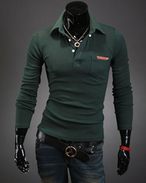 Wholesale 2014 New men personality lapel pockets leather label design long sleeve POLO shirts