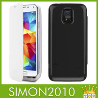 Wholesale 3200mAh Portable Battery backup charger External Backup Power Bank for Samsung galaxy S4 S5 I9500 I9600 Case Flip Leather cover