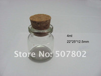 Glass Cork Acid Etch free shipping 500pcs lot factory wholesale 4ml small Glass Bottles vial with high quality small bottles with corks