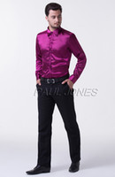 Cheap Super COOL Men Slim Fit Silk-Like Satin Solid Long Sleeve Casual Shirts Tops For CL5250
