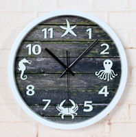 Wholesale 3D Stereoscopic Mediterranean Garden European Retro Shabby Wooden Wall Clocks