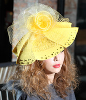 Wholesale Women Hats Church Hats Formal Satin Ribbon Hat Polyester Fabric Made Formal Hat Elegant Beautiful MeshYellow Stones Church Suits New