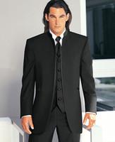 army dress pants - Top Sell Free DHL Custom Cheap Black New Groom Tuxedos Mandarin Collar Groomsmen Dress Men Wedding Suits Jacket Pants Tie Vest