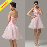 New Arrival Pink Homecoming Dresses Sweetheart Satin & O...