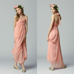 Newest Pink Halter Ruhced Long Chiffon Junior Bridesmaid Dresses Free Shipping Charming Party Gowns Custom Made