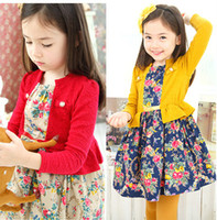 Wholesale 2014 Autumn Girl Floral Long Sleeve Princess Dress Girl One Piece Lace Dress Kids Clothing Girl Dress Flower Clothing S0724