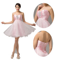 Sexy Strapless Backless Cocktail Dresses Beaded Satin and Or...