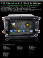 Wholesale 7 quot Android Din HD Car DVD Player GPS for VW Scirocco Golf Caddy Altea Exeo with Retail Package
