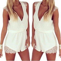 Wholesale S5Q Deep V neck Chiffon Jumpsuits Club Dress Womens Sexy Romper Lace Sleeveless Shorts AAADPX