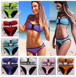Wholesale Newest Sexy Women s Neoprene Bikini With Zipper Bandeau Swimwear Women Candy Colors Swimsuit Bathing Suit S M L XL T160