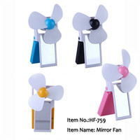 Wholesale Foldable USB Mini Fan Adjustable Fan Battery operated Fans with Beauty Mirror For Computer Laptop Notebook
