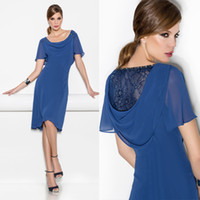 Wholesale Dark Blue Casual Scoop Neck Mother Dresses Capped Sleeves with Hat Unique Design Tea length Chiffon Sheath Fabous Party Gowns Cheap on Sale