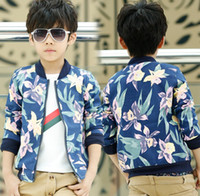 Wholesale 2014 Fashion Baby Boys Denim Cowboy Coat Children Flower Printed Suit Autumn Long Sleeve Outwear Boy s Jacket Children Child Overcoats J0949
