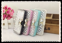 Cheap Luxury Diamond Rhinestone Buckle Leather Flip Wallet Case Cover Credit Card Holder for iphone 4 4s 5 5s samsung galaxy s3 s4 s5 note 2 3