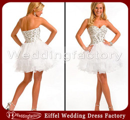 Wholesale Modern Corset White Strapless Sweetheart Homecoming Dress Ball Gown Crystals Short Graduation Prom Gowns with Ruffles